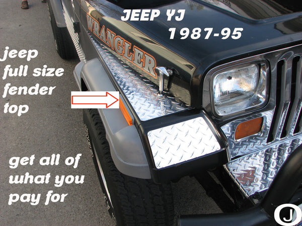 "Jeep wrangler YJ Polished Aluminum Diamond Plate Full Top Fender Covers 40"" long"