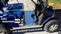 EzGo MARATHON Golf Cart Highly Polished Aluminum Diamond Plate 2 pc Floor Cover
