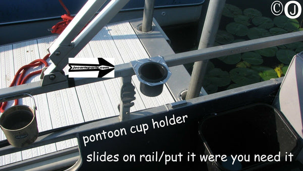 Pontoon Boat Diamond Plate Cup Holder fits 1 1/4 inch Rails