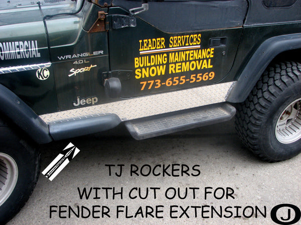Jeep Wrangler TJ Aluminum Diamond Plate 5 3/4 Rocker Panel Bend & Cut Out
