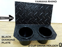 Yamaha Rhino Center Dash 2 Cup Holder Polished Aluminum Diamond plate