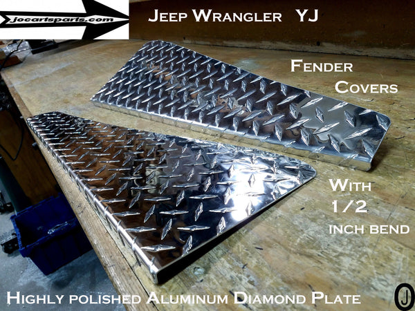 "Jeep YJ Wrangler Aluminum Diamond Plate 24"" long Fender Covers With Bend"