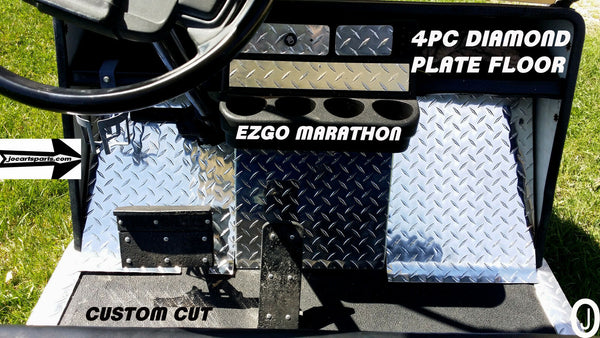 Ezgo Marathon Golf Cart Highly Polished Aluminum Diamond Plate 4 Pc Upper Floor