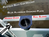 Pontoon Boat Aluminum Diamond Plate Cup Holder fits 1 inch Side Fence Rails