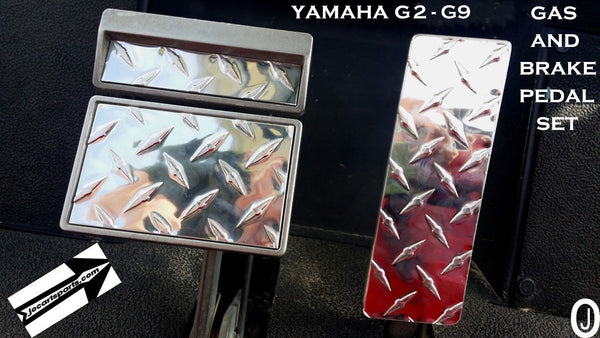 Yamaha G2/G9 Golf Cart Highly Polished Aluminum Diamond Plate 3 pc. Pedal Cover Set