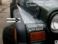 Jeep Wrangler TJ Aluminum Diamond Plate Fender Covers With Bend. Set of 2
