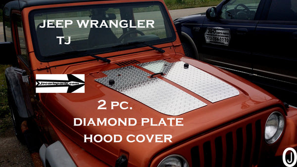 Jeep Wrangler TJ 2pc Aluminum Diamond Plate Hood Cover With 2 Washer Holes