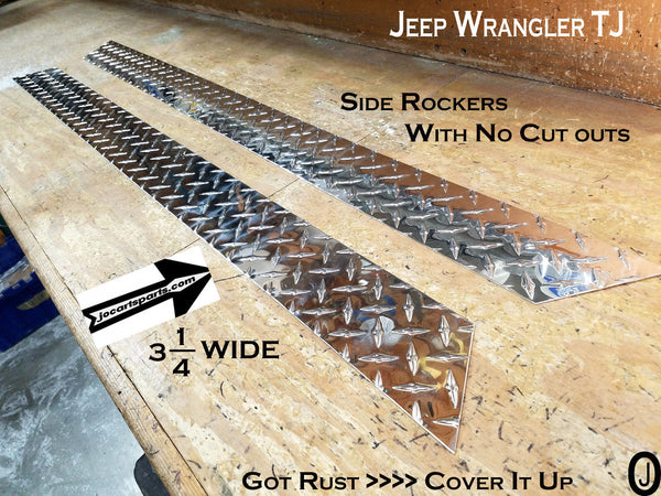 "Jeep Wrangler TJ 3 1/4"" Diamond Plate Aluminum Side Rocker Panels"