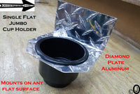 Single Flat Jumbo Cup Holder Diamond Plate fits Jeeps-Golf Carts-Boats-Atv-Utv