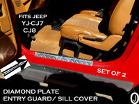 Jeep Wrangler YJ & Wrangler CJ-7,  18 5/8 Long Door Entry Guard Set Aluminum Diamond Plate