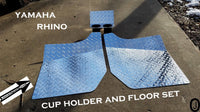 Yamaha Rhino Aluminum Diamond Plate FLOOR & CUP Holder Set
