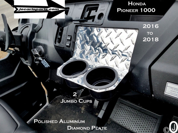 Honda Pioneer 1000 Jumbo Dash Cup Holder Polished Aluminum Diamond Plate