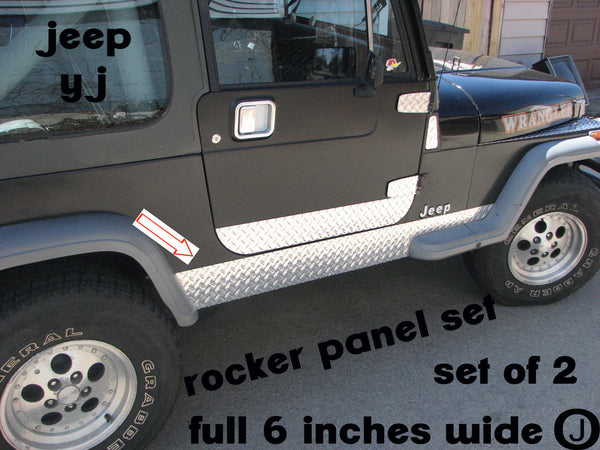JEEP Wrangler YJ Polished Aluminum Diamond Plate Side Rocker Panel Set 6'' Wide
