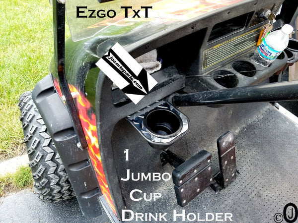 Ezgo Club Car/EzGo 1 Jumbo Cup Drink Holder Made With Polished Aluminum Diamond Plate