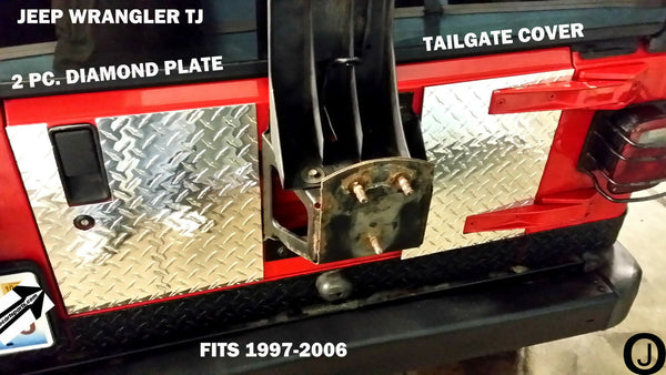 Jeep Wrangler TJ 2 pc Highly Polished Aluminum Diamond Plate Tailgate Cover