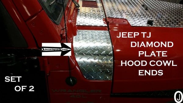 Jeep Wrangler TJ Aluminum Diamond Plate 2 PC. Hood Cowl Ends, Set of 2