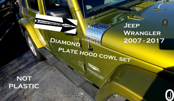 Jeep Wrangler JK 2pc Polished Aluminum Diamond Plate Hood Cowls Set