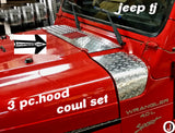 Jeep wrangler TJ Highly Polished Aluminum Diamond Plate 3 Piece Upper Hood Cowl Set