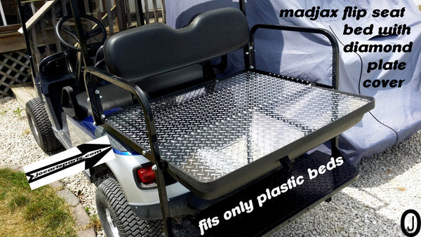 Diamond Plate Flip Bed cover fits MADJAX BRAND golf cart, ezgo-club car-yamaha