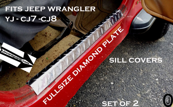"Jeep Wrangler YJ-CJ7-CJ8 Aluminum Diamond Plate Entry Guard Sill Covers 24"" long"