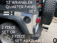 Jeep TJ Wrangler 2 pc Aluminum Diamond Plate Rear Quarter Panel - Corner Guards