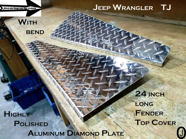 Jeep Wrangler TJ Aluminum Diamond Plate 24 inch Fender Covers With Bend set