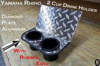 Yamaha Rhino Dash 2 Cup Holder Diamond plate Aluminum with Rubber Edge