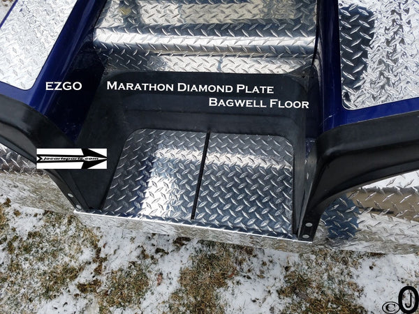 Ezgo Marathon Golf Cart Polished Aluminum Diamond Plate Bagwell floor cover