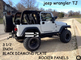 "Jeep TJ Wrangler 3 1/2"" Wide Polished Aluminum Diamond Plate Rocker Panel Set"