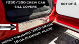 Ford F250/350 Pickup Crew Cab Aluminum Diamond Plate Door Sill Covers > Set Of 4