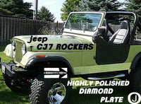 Jeep CJ7 Highly Polished Aluminum Diamond Plate Side Rocker Panel Set 6'' Wide