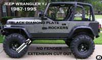 Jeep Wrangler YJ Aluminum Diamond Plate Rocker Panel set No Cut Outs 6'' Tall
