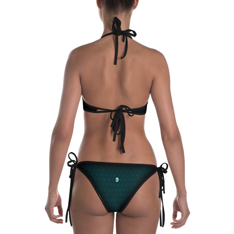 """AWARENESS"" Bikini in charcoal & mint"