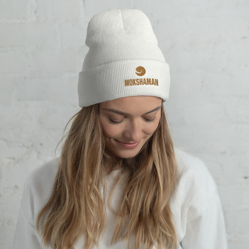 Cuffed Beanie by MOKSHAMAN® embroidered in gold