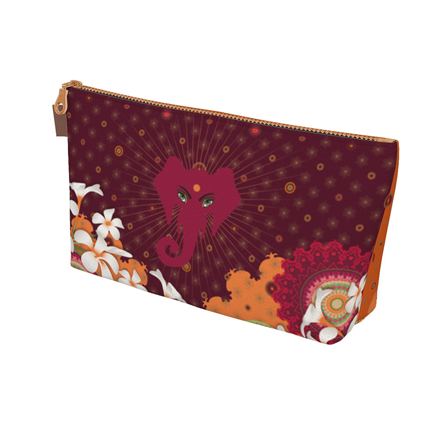 """BURGUNDY JUNGLE"" Make up Bag by MOKSHAMAN®"