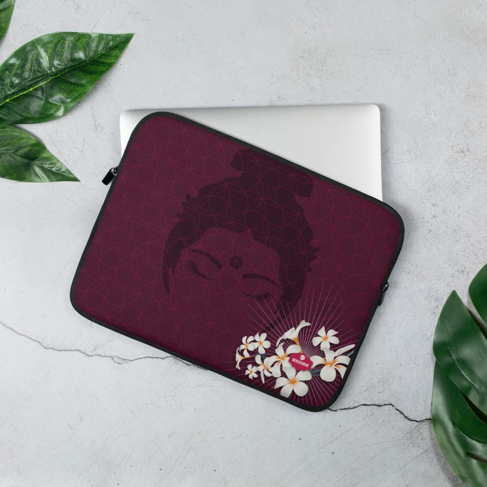 """FOCUS"" Laptop Sleeve by MOKSHAMAN® in burgundy"