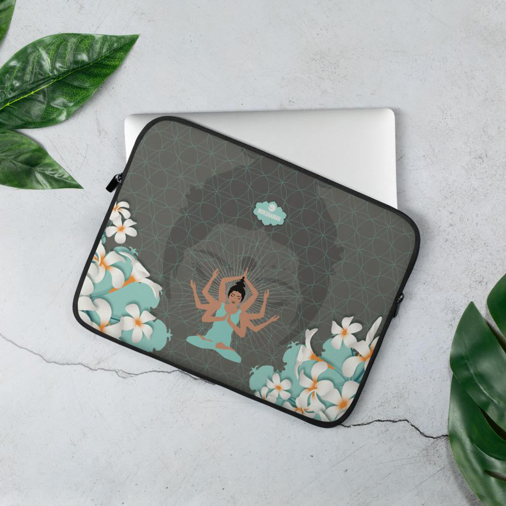 """STAY CENTERED"" Laptop Sleeve by MOKSHAMAN® in cool mint"