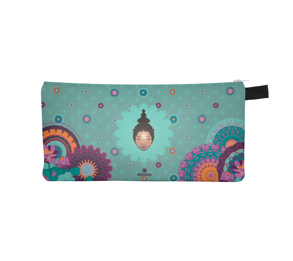 """LEENA"" Vibrant Pencil Case by Mokshaman® in mint & darkmint"