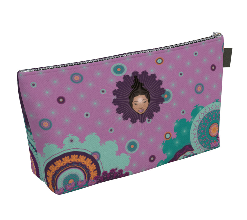 Vibrant Make up Bag by Mokshaman® in lilac & eggplant