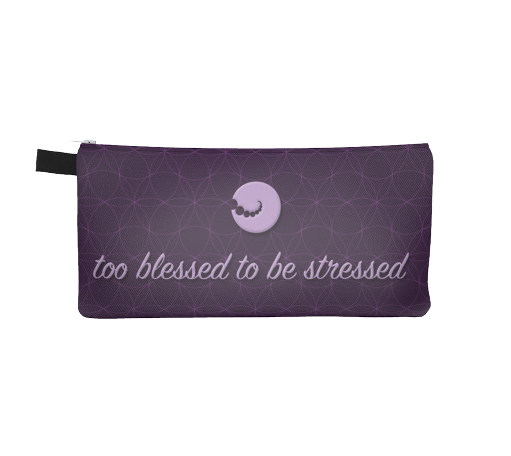 """Too blessed"" Pencil Case by Mokshaman® in lila"