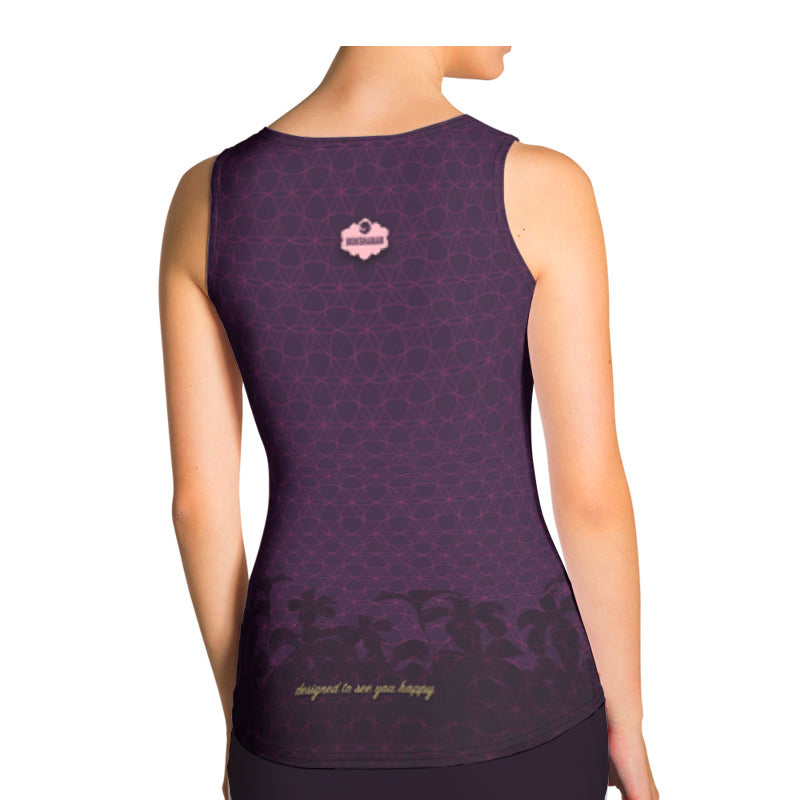 """Stay Blessed"" Tank Shirt by MOKSHAMAN® in eggplant, gold & rose"