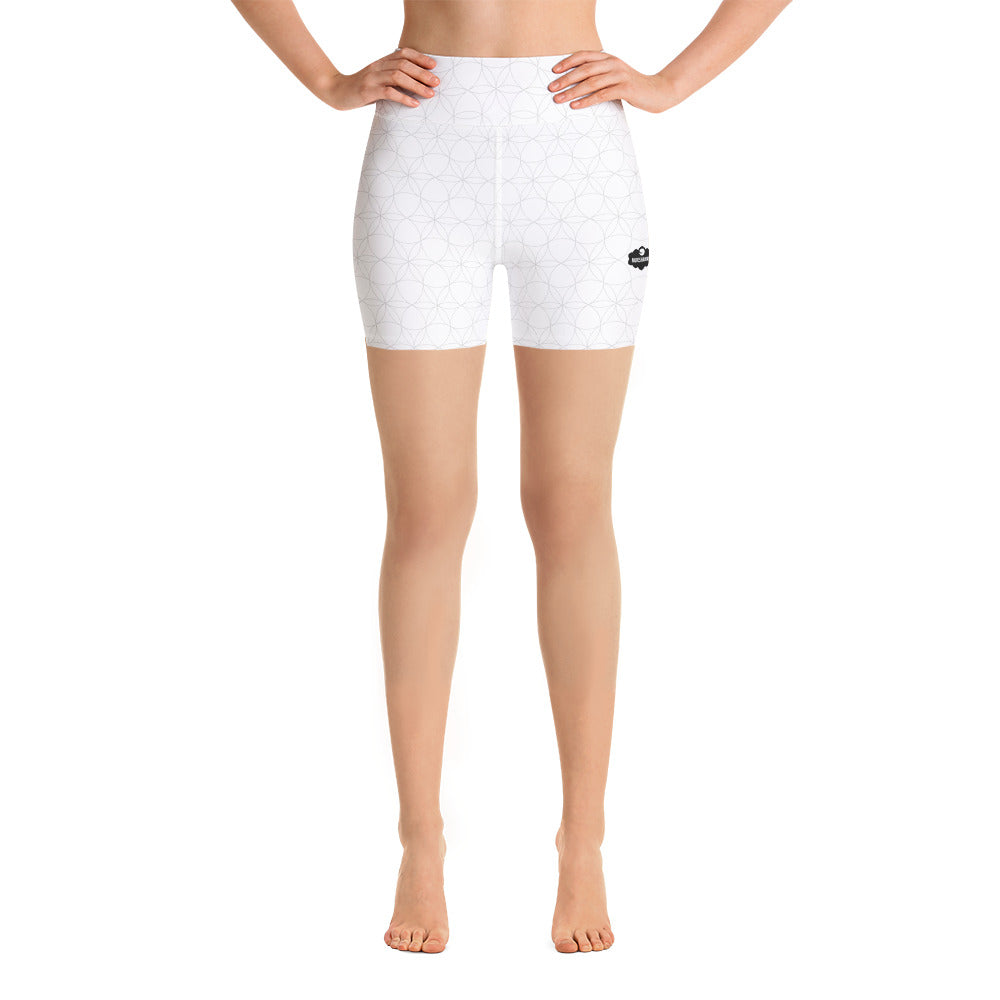 """Delight Alternate"" Yoga Shorts by MOKSHAMAN® in white"
