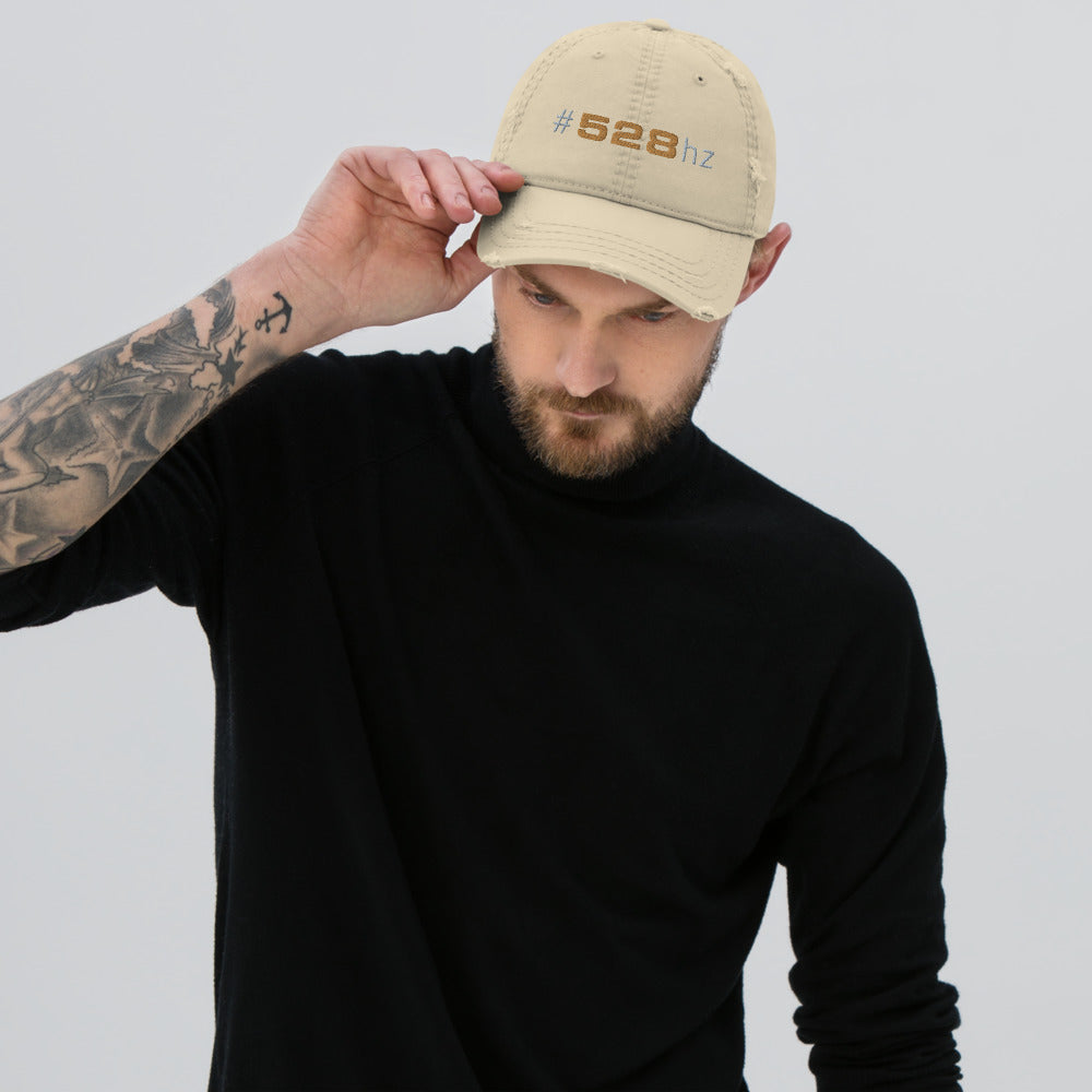 """528hz"" Distressed Dad Hat"