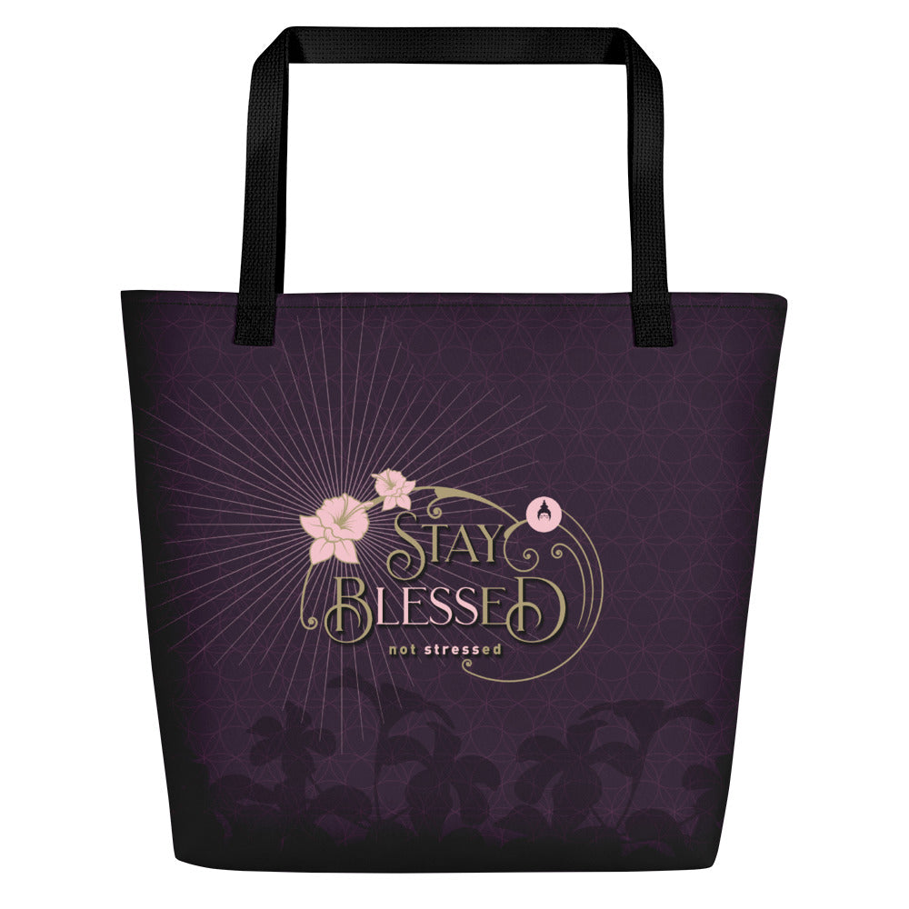 """STAY BLESSED"" Shopper in eggplant & gold"