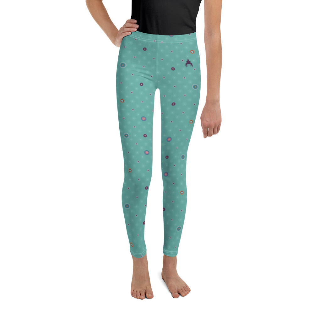Patterned Youth Leggings by MOKSHAMAN® in dark turquoise