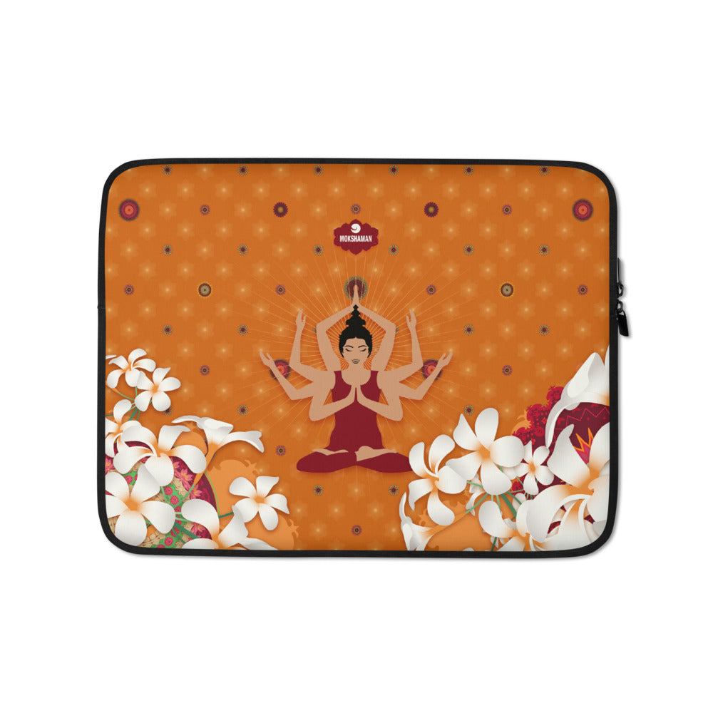 """Stay happy"" Laptop Sleeve by MOKSHAMAN® in orange"
