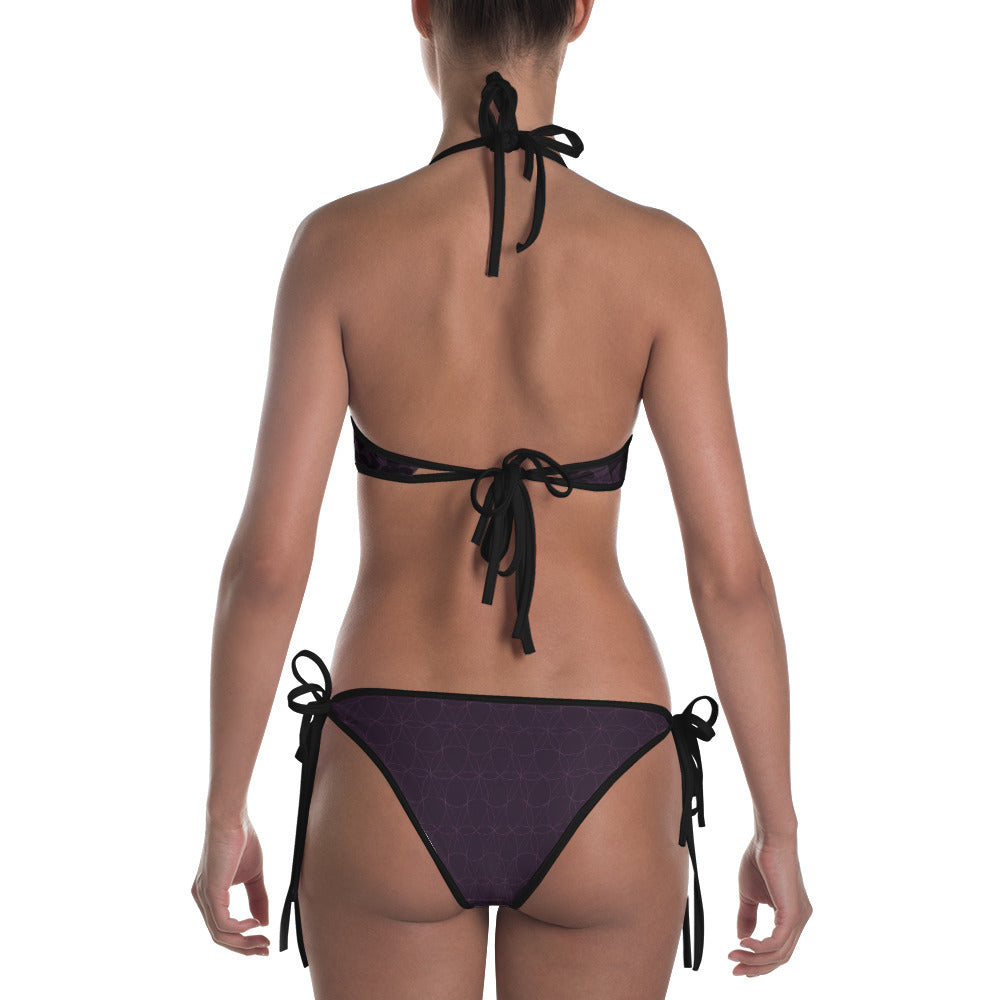 """STAY BLESSED"" Bikini in eggplant & gold"