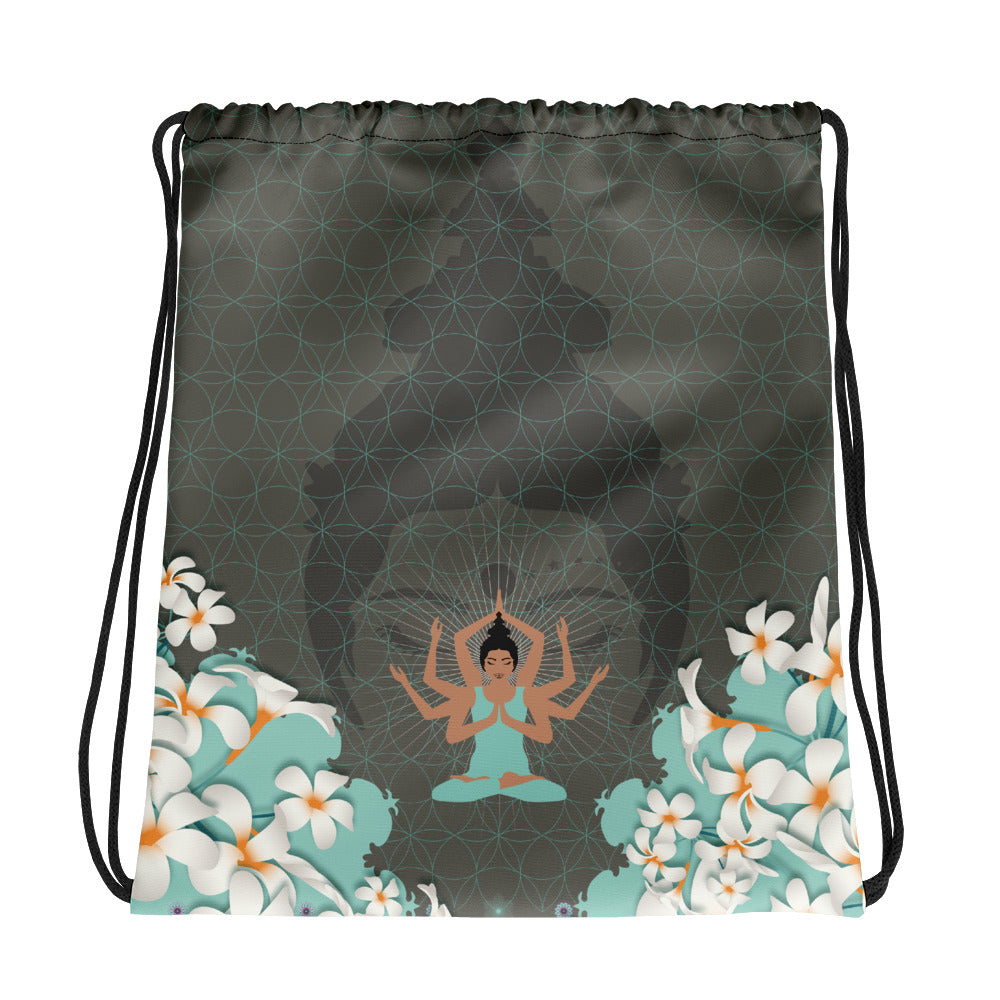 Vibrant Drawstring bag by MOKSHAMAN® in greige & mint