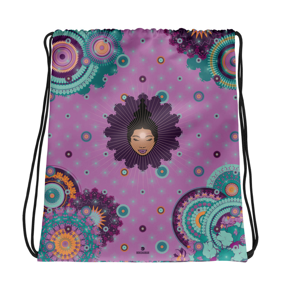 Vibrant Drawstring bag by MOKSHAMAN® in lila & lilac