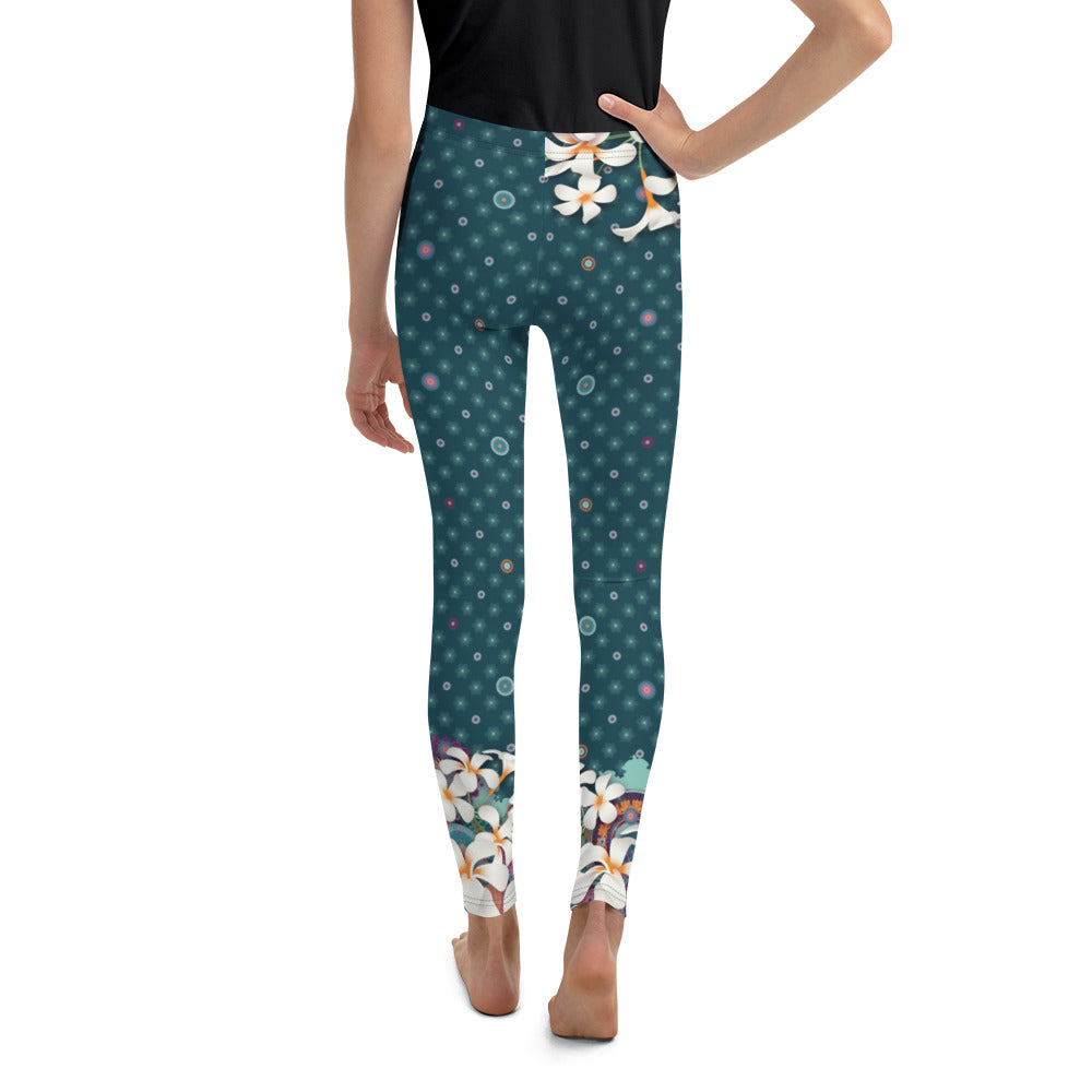 """Kasumi"" Youth Leggins in petrol, hip flower"